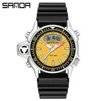 SANDA Luxus Männer Uhren Military Wasserdicht Dual Display Sport Uhr Schwarz Gelb LED Quarz Armbanduhren horloges mannen