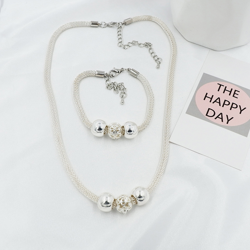 Charms wedding party silver color new cute lady bead women necklace jewelry Set jewelry fashion cute pendant necklace