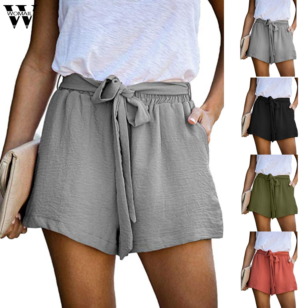 Womail Shorts Women 2020 Summer Casual Green Wide Leg Shorts Cotton Linen Shorts Pocket Loose Leisure Drawstring Shorts Beach P0