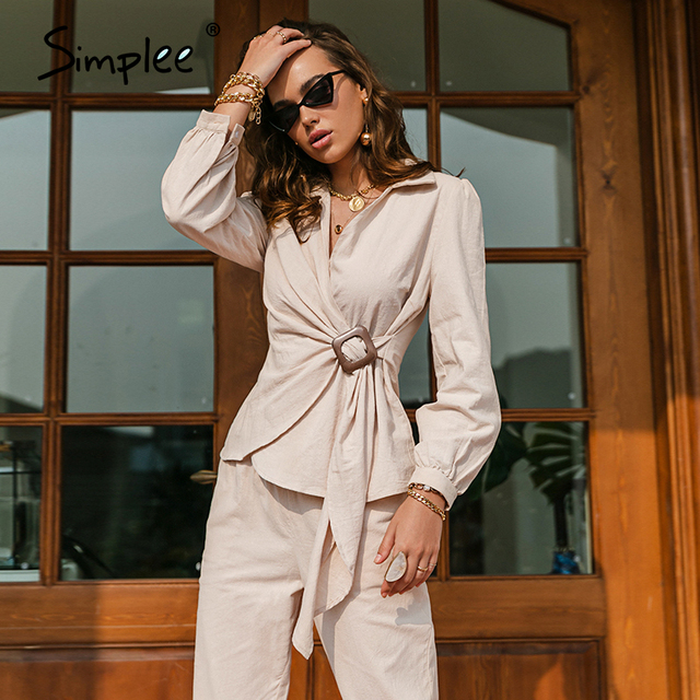 Simplee Casual spring solid wrap women sets office lady V-neck long sleeves two piece set female Elegant cotton sash suits slim 2