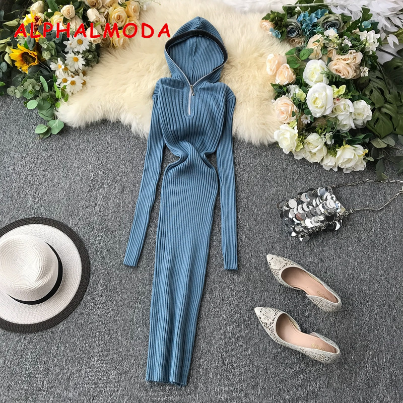 ALPHALMODA 2019 French Minority Dresses Autumn Winter New Design Hooded Zipper Pure Color Pullover Tight Chic Knit Tunic Dress