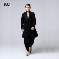 Buddhist Meditation Men's Tops Traditional Clothing Chinese Kung Fu Set Cotton Linen Blouse Elastic Waist Pants Loose Shirt Men