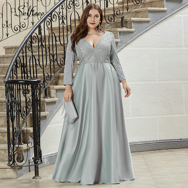 אופנה בתוספת גודל נשים שמלת נצנצים העמוק V צוואר מלא שרוול אלגנטי כחול כהה כתם מקסי המפלגה שמלת Vestidos דה Festa 2020