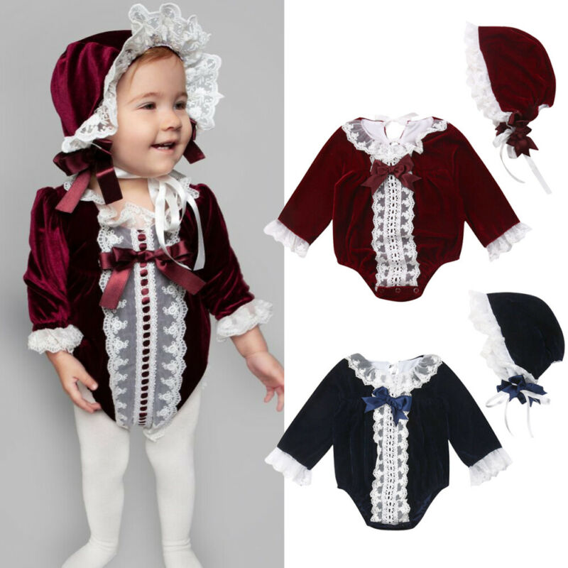 New Princess Newborn Baby Girls Long Sleeve Velvet Romper Vintage Lace Bow Jumpsuit Beanie Hat Infant Baby 2Pcs Clothes Outfits