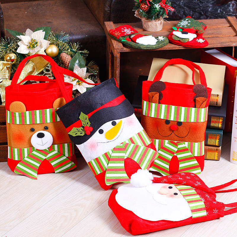 4 шт рождественские украшения нетканые маленькие сумочки рождественские украшения праздничный подарок сумка для подарков Санта-Клауса