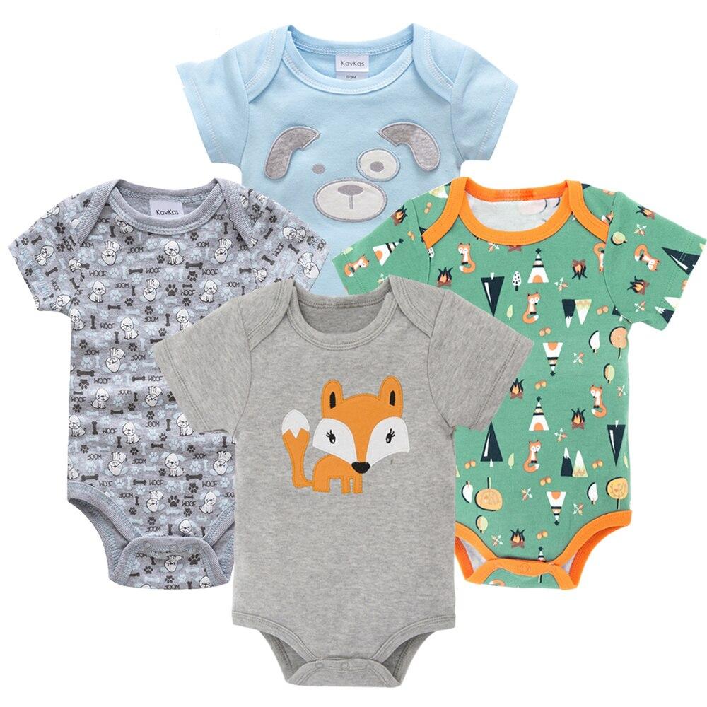 Honeyzone Пижама для младенцев 4 шт./компл. короткий рукав новорожденных Пижама для маленьких мальчиков/младенцев Одежда для маленьких мальчиков bossa nova - Цвет: HY20802163
