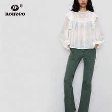 ROHOPO Butterfly Long Sleeve Polk Dot Embroidery Floral Pleated Hem Chiffon Blouse Semi Transparent Round Collar Top Shirt #9357 plus embroidery ruffle hem semi sheer blouse