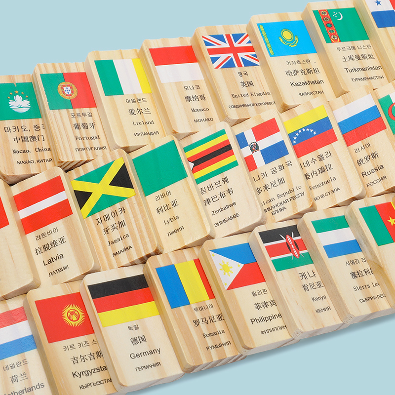 100 Pieces Wood Dominoes 4 Languages 100 National Flag Design Wooden Blocks Children Toy Montessori Cognitive Domino Kids Gifts