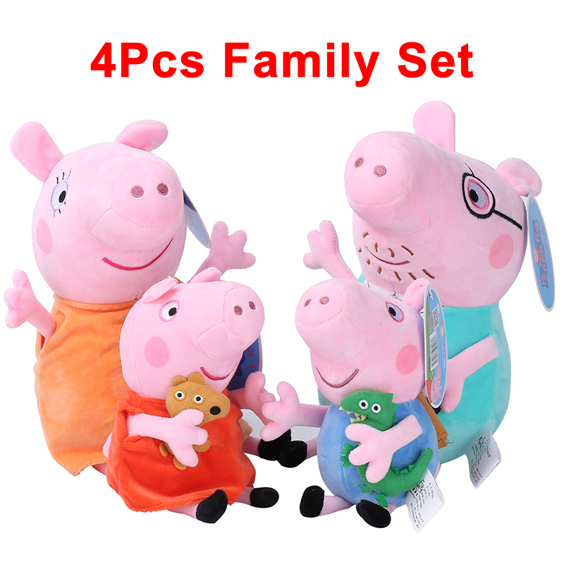 4Pcs/set Peppa Pig George Pig 30/19cm Family Stuffed Plush Toy Doll Party Decoration Birthday Gift Toy For Girl Children's Day