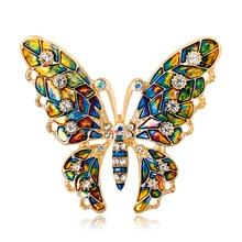 Модные броши для женщин, животное, Бабочка, эмаль, горный хрусталь, кристалл, брошь на булавке, костюм для девочек, праздничная одежда, ювелирные изделия, аксессуары