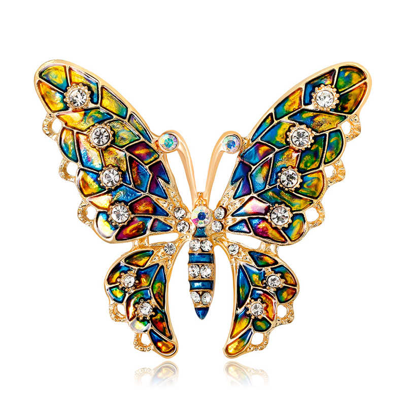 Fashion Brooches for Women Animal Butterfly Enamel Rhinestone Crystal Brooch Pin Girls Suit Party Clothes Jewelry Accessories