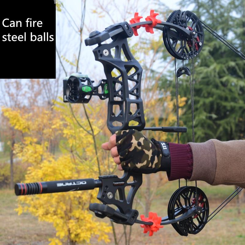 2019 novo dual-uso pode lançar esfera de aço composto arco tiro com arco arco e flecha de caça ao ar livre triângulo arco de caça poder grande arco