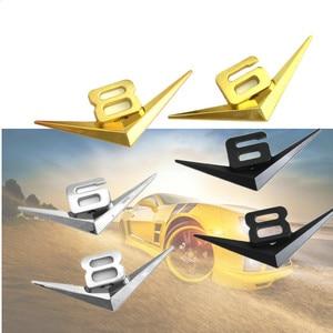 Image 3 - רכב סטיילינג 3D מתכת V6 V8 3D כרום רכב רכב דלת תא המטען מדבקות סמל תג מדבקות לאאודי A3 A4 A7 מרצדס אבזרים