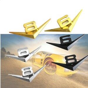 Image 3 - Diseño de coche 3D Metal V6 V8 3D cromado coche traseras pegatinas emblema insignia etiqueta para audi A3 A4 A7 mercedes Accesorios