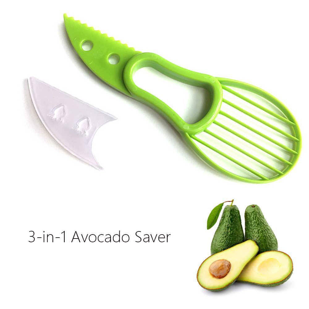 Rebanadora de aguacate 3 en 1, pelador de centros de mantequilla, pelador de fruta, cortador, separador de pulpa, cuchillo de plástico, utensilios para verdura cocina, accesorio para el hogar