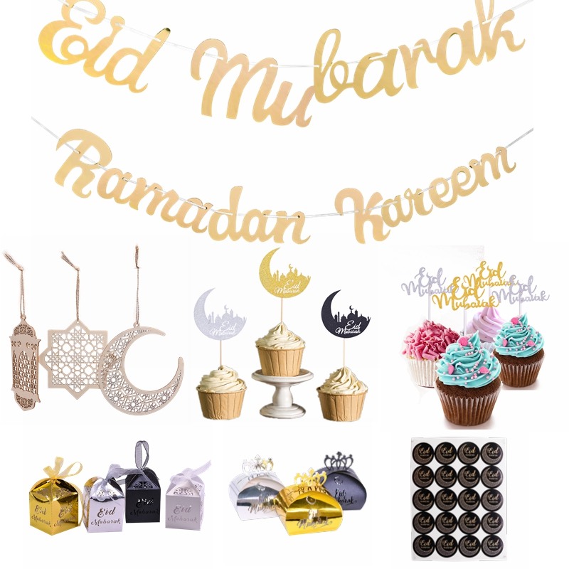 Ramadan Kareem Decorations Eid Mubarak Banner Hanging Bunting Moon Cake Toppers Wooden Pendant For Islam Muslim Party Supplies