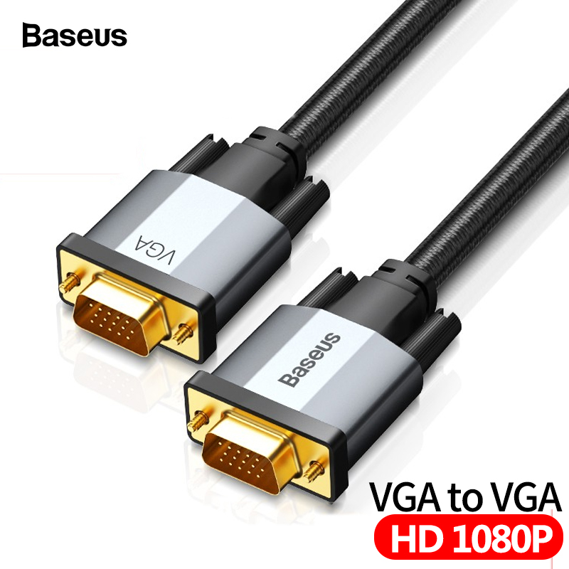 Baseus VGA To VGA Cable 15 Pin 1080P HD Male To Male VGA Video Adapter Cable For Projector Monitor Computer PC TV VGA Wire Cord
