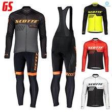 2021 scotte preto conjunto camisa de ciclismo 20d gel acolchoado bib calças inverno à prova vento velo térmico manga longa bicicleta skinsuit