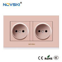NOVSKI EU Standard 16A Electrical Double Wall Socket Flame Retardant PC Panel AC 110-250V Power Socket CE RoHS CCC certified electrical flame