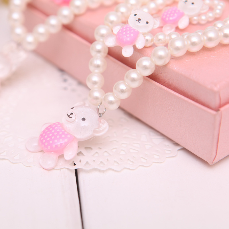 South Korea-Style Children Pearl Three-piece Set Necklace Exquisite Princess Bracelets Yiwu Accessories