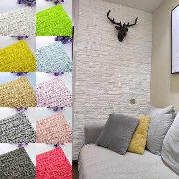 DIY samoprzylepny 3D naklejki ścienne imitujące cegły wystrój salonu pianki wodoodporne tapety tapety na tle TV dzieci pokój