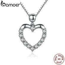 BAMOER nowy autentyczne 925 Sterling Silver kobiet serce wisiorek naszyjnik wysokiej jakości mody akcesoria naszyjnikowe SCN025