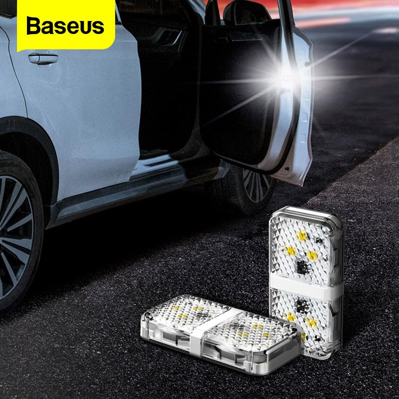 Baseus 2pcs 6 LEDs Car Openning Door Warning Light Safety Anti-collision Emergency Alarm Lamp Car Indicator Flash Signal Lights