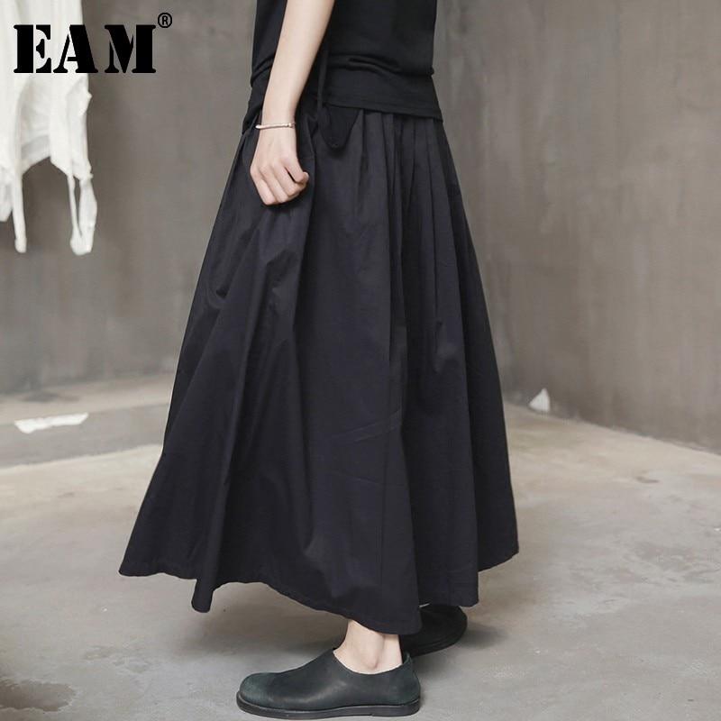 [EAM] High Elastic Waist Black Pleated Split Joint Temperament Half-body Skirt Women Fashion Tide New Spring Autumn 2020 Y902