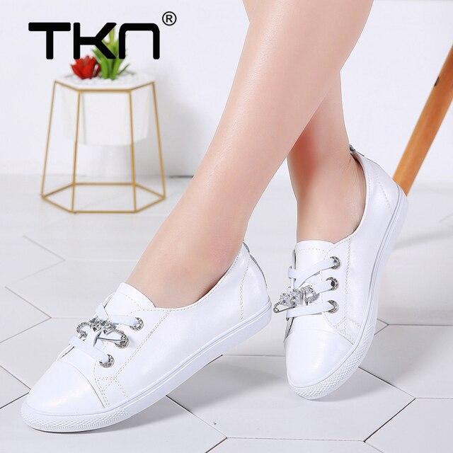 TKN sonbahar beyaz ayakkabı kadınlar düz deri ayakkabı kadın Lace Up bayanlar konfor beyaz spor salonu ayakkabısı rahat kadın spor ayakkabı kadın