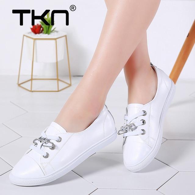 Tkn 秋白靴女性フラット革の靴女性のレースアップレディースコンフォートホワイトボード靴カジュアル女性スニーカー女性