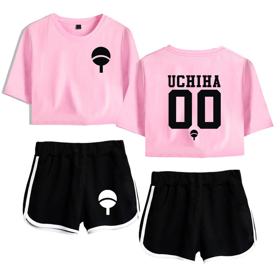 Naruto Tracksuit 2 Piece Set Women Crop Top And Shorts Pants Uchiha Hatake Uzumaki Clan Badge Women Sets New Two Piece Set Women
