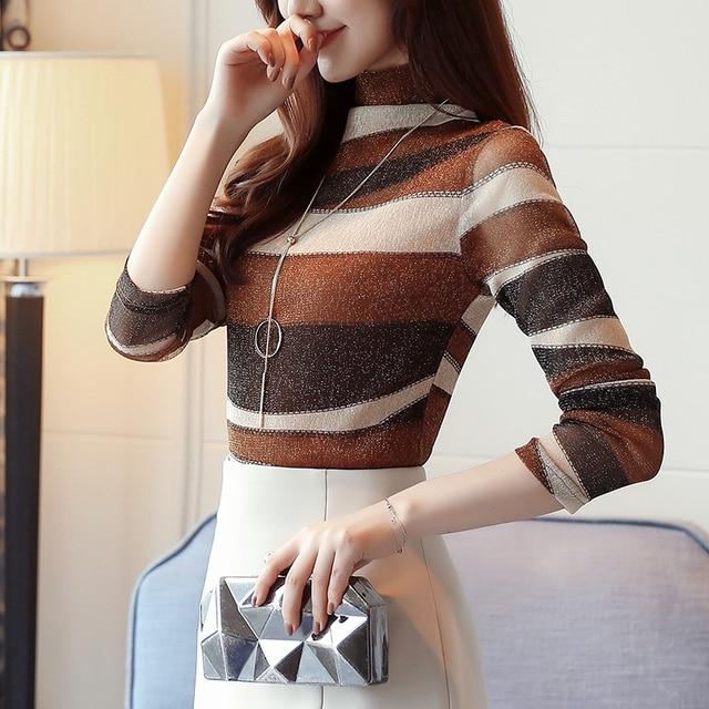 2019 mode rayé femmes chemises blouse col roulé net fil femmes vêtements à manches longues grande taille féminine hauts blusas 821E 30