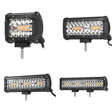 1PC 3.5 Inch/6.5 Inch/9 Inch/12 Inch LED Work Light Bar Dual Color 6 Modes Strobe Flash Lamp For Car SUV ATV Motorcycle