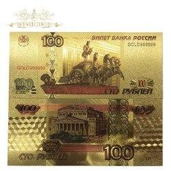 10 шт./лот России Цветной золотых банкнот 100 рублей счетчик валюты в центре сообщений в течение 24K позолоченные поддельные деньги Реплика для ...