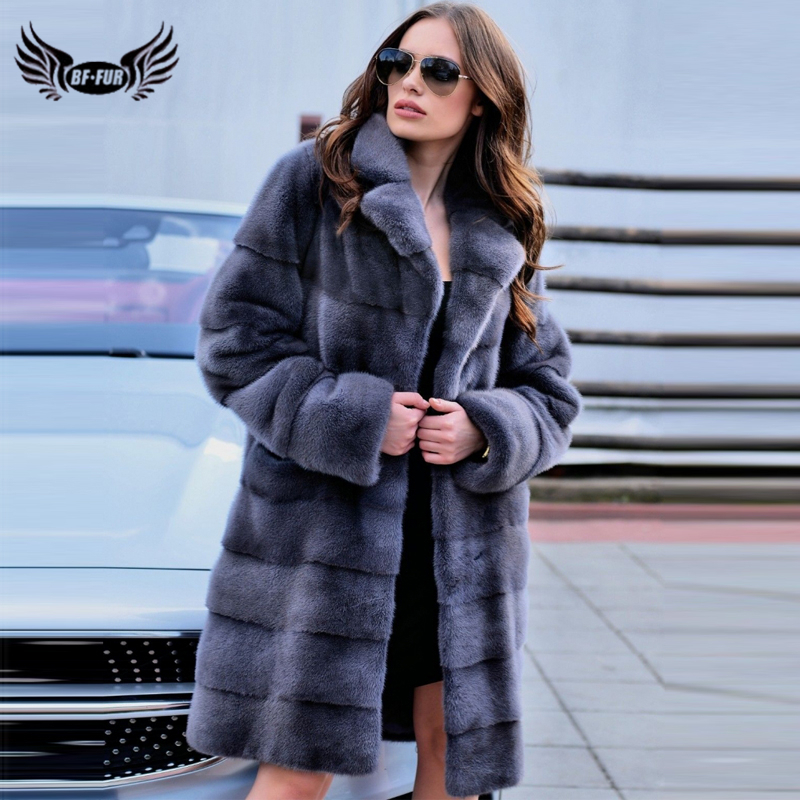 BFFUR 2019 Women's Real Mink Fur Coat Full Pelt Genuine Mink Fur Coats Lapel Collar Winter Natural Fur Women Luxurious Jacket