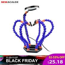 NEWACALOX Thứ Ba Tay Hàn PCB Giá Đỡ Dụng Cụ 6 Cánh Tay Giúp Tay Thủ Công Sửa Chữa Giúp Hàn Ga 3X USB Kính Lúp Có Đèn LED