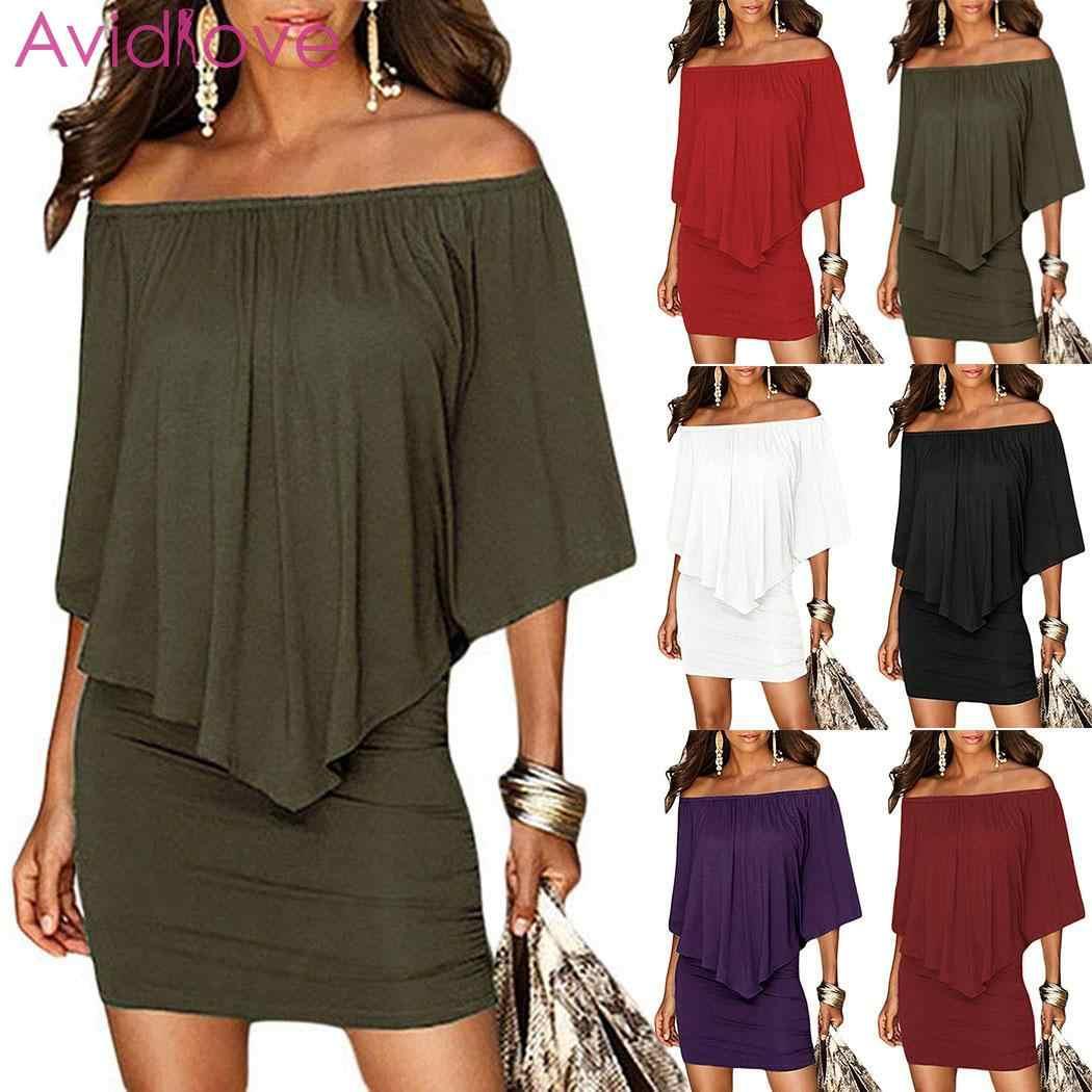 Baru Fashion Wanita Kasual Off Bahu Paket Hip Ruffles Padat Hip, Santai, pesta Gaun Mini Seksi Di Atas Lutut,
