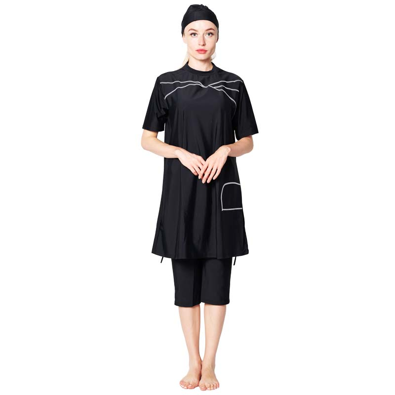 Plus Size Muslim Swimwear Women Modest Patchwork Full Cover Short Sleeve Swimsuit Islamic Hijab Islam Burkinis Wear Bath