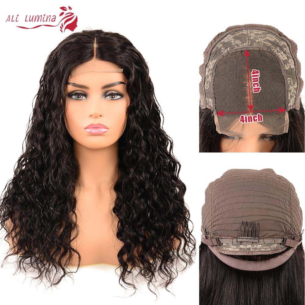 Ali Lumina 4X4 dentelle fermeture perruque brésilienne cheveux eau vague perruque Remy cheveux humains perruque avec fermeture à lacet