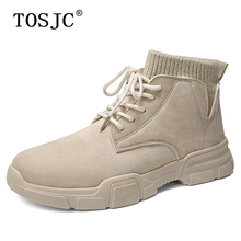 TOSJC Autumn Outdoor Men Ankle Boots Anti-skid Work Shoes Lace-up Male Cowboy Boots High Quality Tactical Military Desert Boot outdoor camping mountain high tube anti skid wear resistant shoe sneaker men tactical military ankle shock absorber desert boots