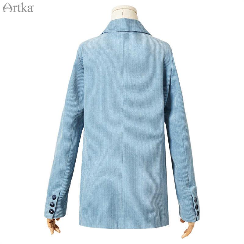 ARTKA 2019 di Autunno Nuove Donne Giacche Vintage Giacca di Velluto A Coste Giacca di Colore Solido Allentato casual Donne Giacche e Giubbotti WA10199Q