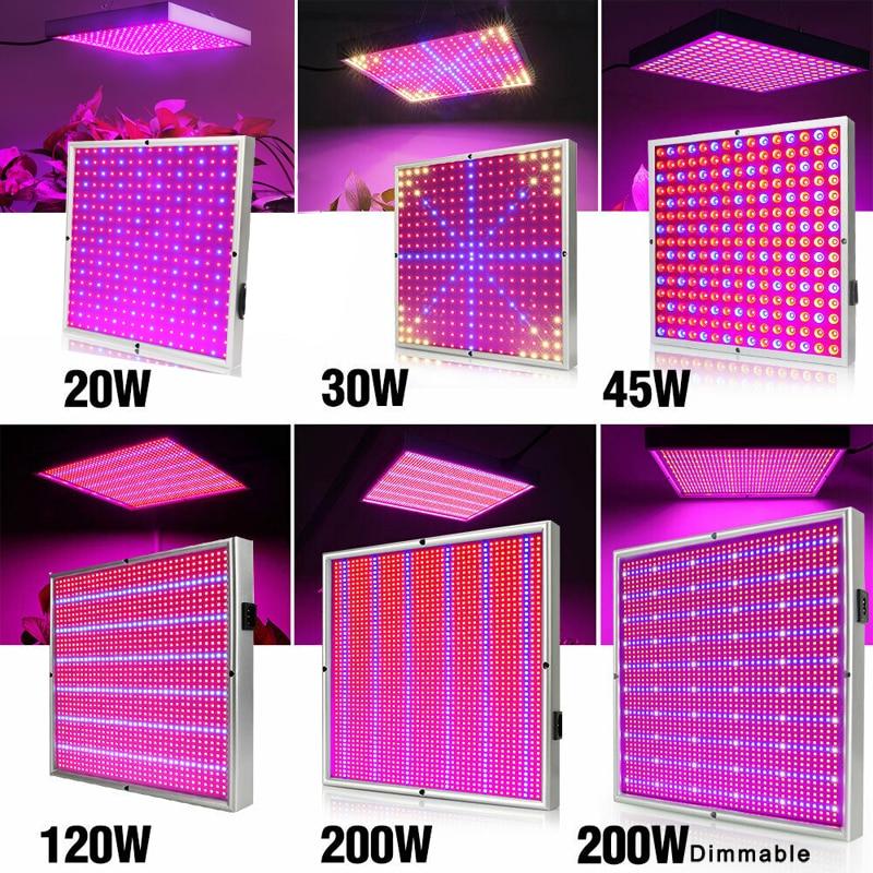20W/30W/45W/120W/200W LED Grow Light Full Spectrum Plant Lamp Panel Lighting AC85~265V For Greenhouse Plants Hydroponics Flowers