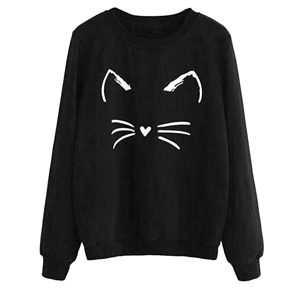 fashion 2020 sweatshirt Women Autumn And Winter lovely Cat print Round Neck Long Sleeve Regular fall clothes moletom