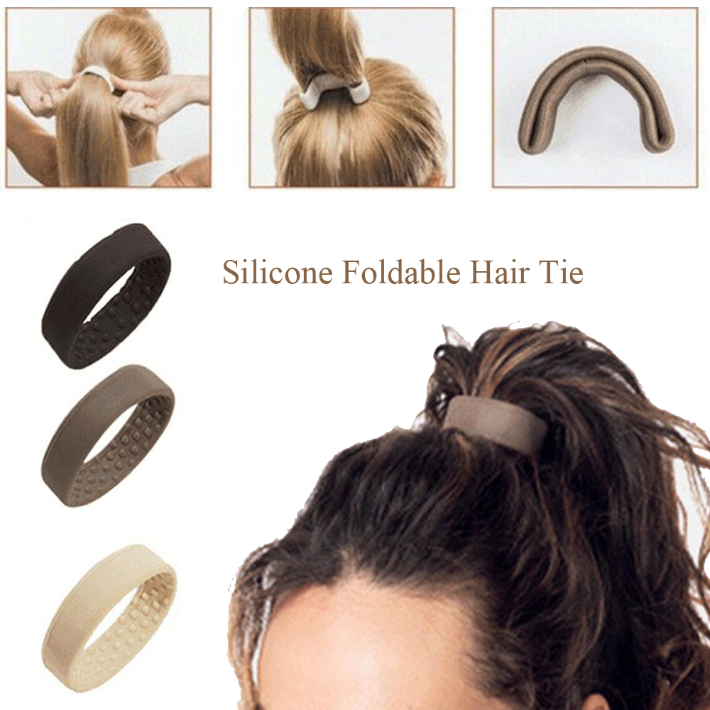 Woman Silicone Foldable Stationarity Hair Ties Girls Rubber Band Elastic Hairband Fashion Hair Accessories Hair Style Tools
