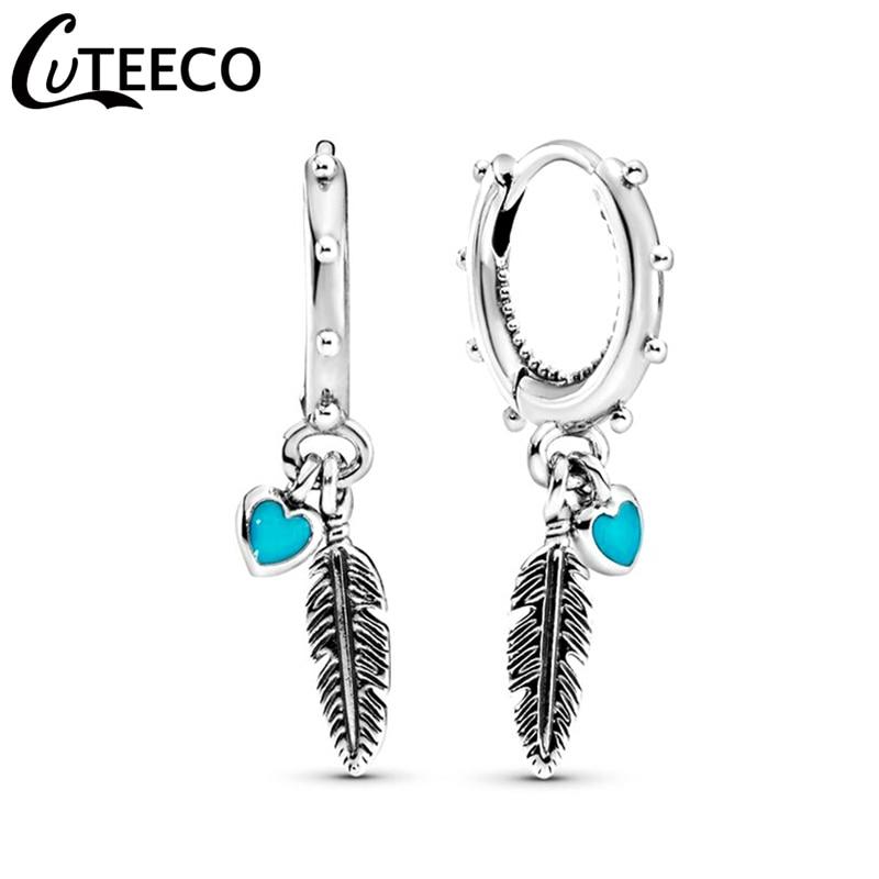 CUTEECO Hearts & Feather Hoop Earrings 2019 New Bohemian Style Earrings For Women Fashion Jewelry Gift Oorbellen