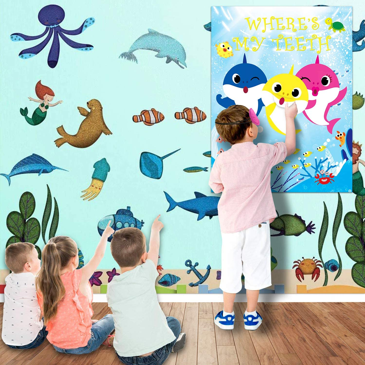 Shark Party Game Pin The Teeth On Shark Party Favors Games For Kids Shark Theme Birthday Baby Shower Party Supplies 24 Teeth