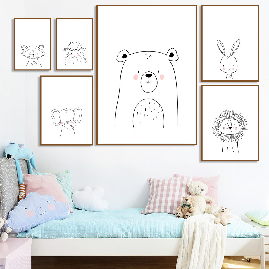 Cartoon Rabbit Lion Sheep Bear Picture Canvas Painting Nordic Posters And Prints Animals Art Wall For Kids Room Decor