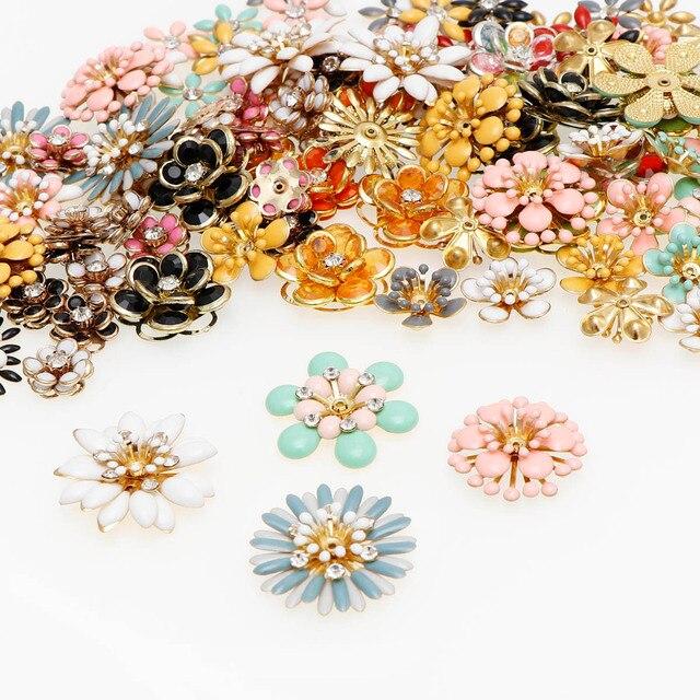 6/10 sztuk błyszczące kropla oleju stop kwiat metalowy kwiat Spacer koraliki koniec czapki wisiorek diy do włosów akcesoria Charms złącza biżuteria