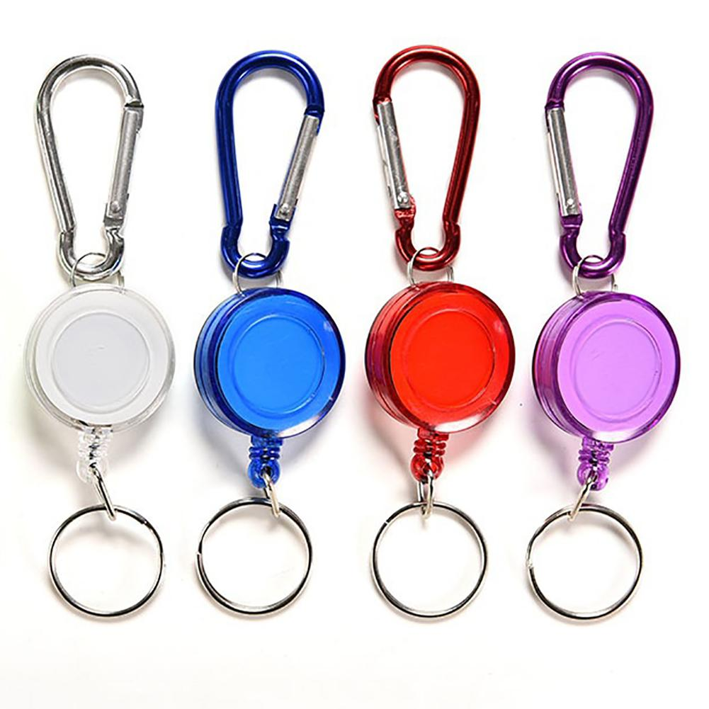 Retractable Badge Reel Holder Carabiner Recoil Key Chain Ring 4 Colors Mini Multi-purpose Telescopic Keychain Outdoor gadgets