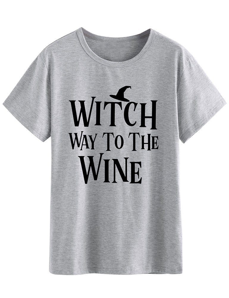 witch tops gothic halloween printed pumpkin t shirt 90s plus size women casual print o neck harajuku 2019 christmas streetwear in T Shirts from Women 39 s Clothing